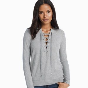 WHBM Lace Tie Front Gray Sweatshirt Size XS